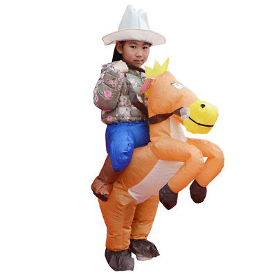 Horse Rider Halloween Costume (Kids Inflatable Costume Horse Rider Mascot Halloween Christmas Party)