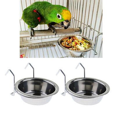 2 Pcs Bird Cage Food Water Bowl Dish for Parrots Budgie Parakeet Lovebird