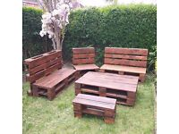 furniture from pallets Five-piece set to buy together or separately ( bench , table on wheels )