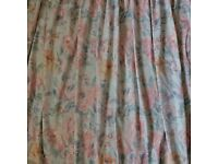 Fully lined pink/blue flower patterned curtains with Tie Backs