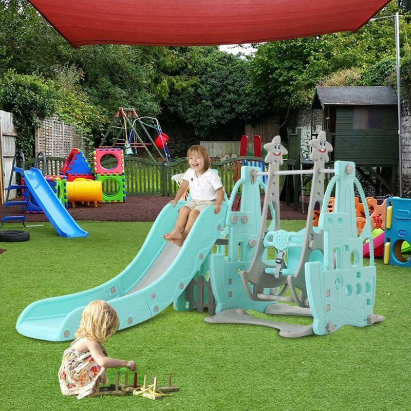 4in1 Kids Playground Swing Set Outdoor Climber Slide Trampol