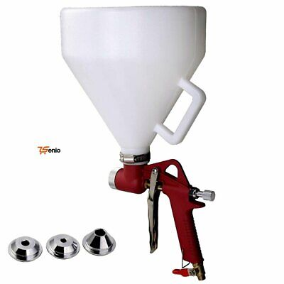 Air Texture Hopper Spray Gun Paint Drywall Wall Painting Sprayer With 3 Nozzle -