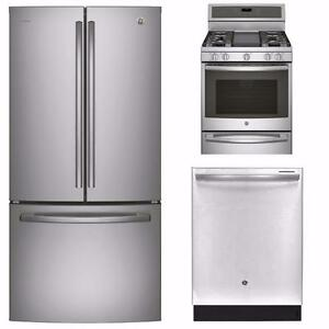 Stainless Steel Kitchen Appliances Combo: 36'' Fridge, 30'' Stove, 24'' Dishwasher, GE Profile