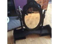 Black solid dressing table mirror with storage