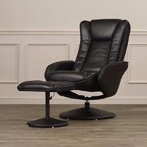 Leather Heated Massage Recliner with Ottoman by Alcott Hill - Brand New