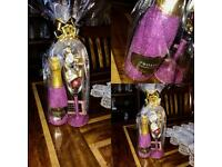Glitter bottle and glass