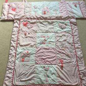 Pretty cot quilt with extras