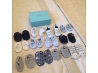New. Will post. Bundle Baby boy pre walker booties slippers trainers cotton cream blue m&s next