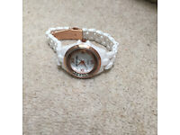 Watch white with Rose gold and studs