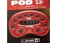 Line 6 Pod version 2.0. The complete guitar tone solution with Handbook and lead