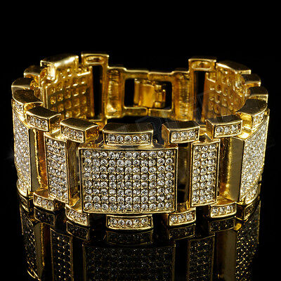 14k Gold ICED OUT MicroPave Lab Diamond Mens Hip Hop Bling Adjustable Bracelet