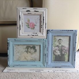 Brand new, vintage photo frame. Blue and white triple photo frame, perfect for any room.