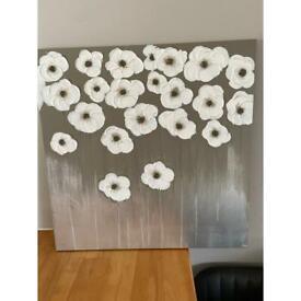 Flower Silver Canvas