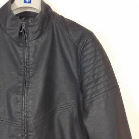 Men's Faux Leather Black Biker / Bomber Style Jacket New Size Large Nice