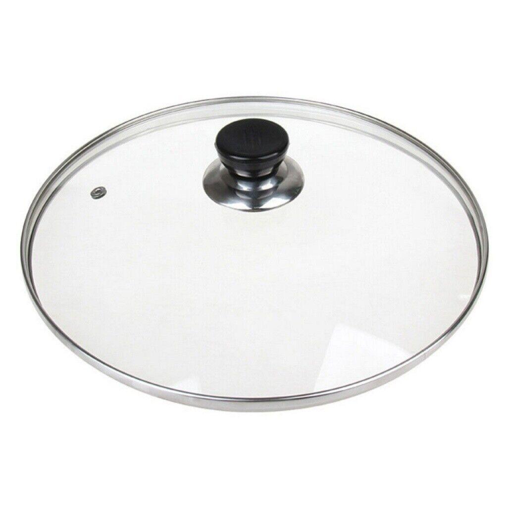 30cm Tempered Glass Pan Lid Transparent Steam Vent Hole