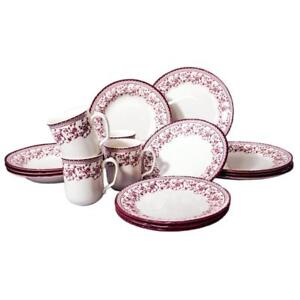 NEW Tudor 16-Piece Porcelain Dinnerware Set, Service for 4 - ASTER PINK,