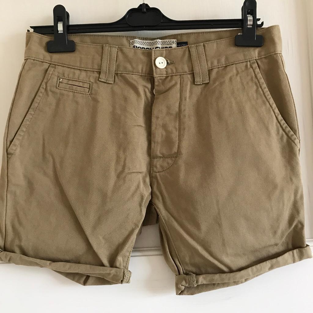 Topman Khaki Skinny Chino Shorts