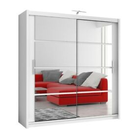 70% off Offer**New Dexter 2 Doors Sliding Wardrobe with Full Diced Mirrors in Black and White Colors