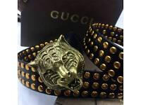 Mens lion head statement fashion luxury mens leather belt versace boxed rare