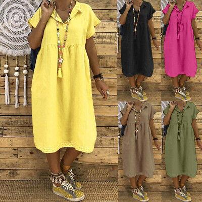 Damen Frauen Kurzarm V-Ausschnitt Lace Spitze Baggy Freizeit Leinenkleid Kleid - Kleid