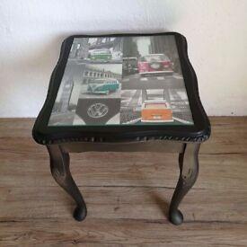 Black Side Table with VW campervan design
