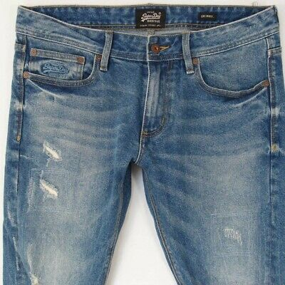 Mens SuperDry SKINNY Stretch Blue Jeans W33 W34 L34