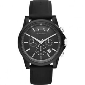 Armani Exchange mens black watch. includes armani authentication certificate and original box.