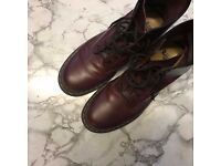 Dr Martens Docs 8 Eyelet Cherry Red Smooth Boots, size 10 UK - RRP £110, selling for £45 ono