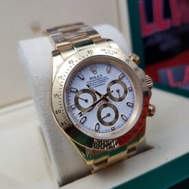 Complete Package gold strap white face ceramic bezel Rolex Daytona automatic sweeping