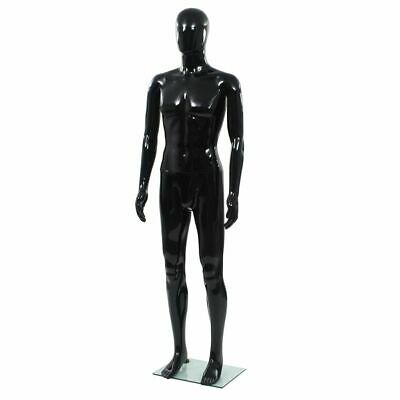 Full Body Male Mannequin With Glass Base Glossy Black 72.8