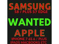 WANTED * IPHONE 7 / PLUS 6S iphone 6 5s SAMSUNG galaxy S8 plus 64gb note 8
