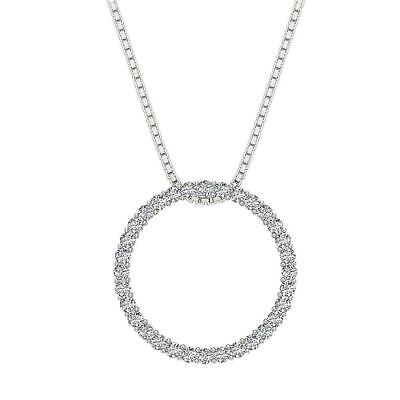 - Circle Pendant Necklaces Natural Diamond I1 G 0.75 Ct 14K White Gold 0.78 Inch