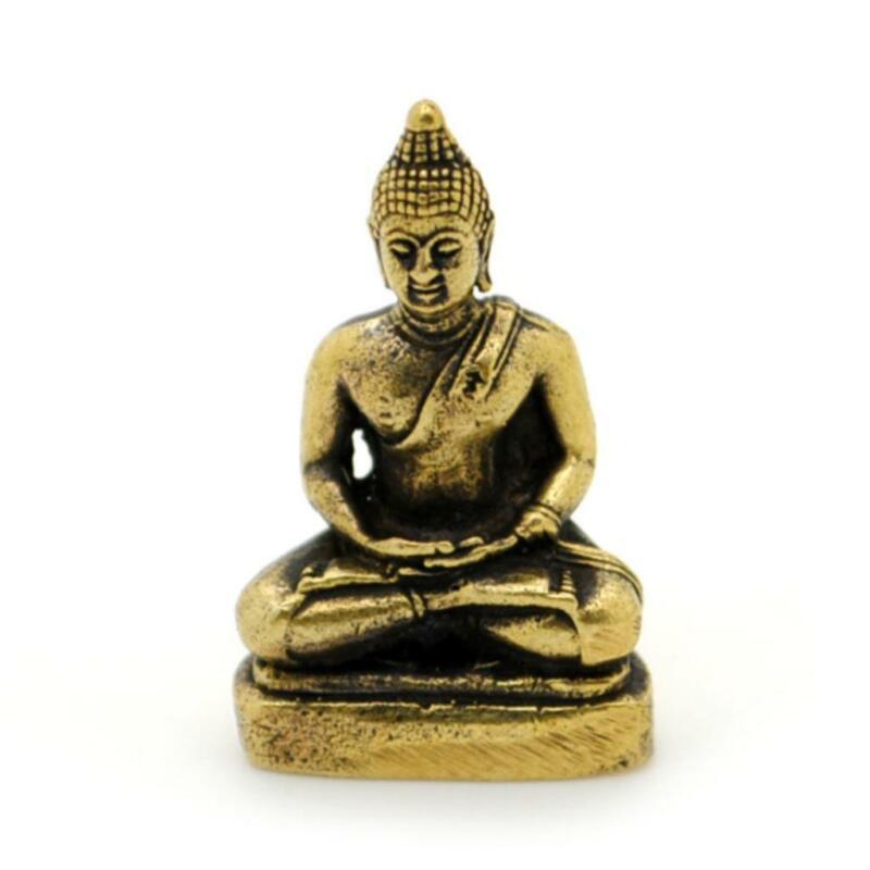 "MINIATURE BRONZE BUDDHA STATUE 1"" Tiny Mini Buddhist Figurine Amulet Talisman"