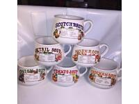 Set of 6 Vintage Retro Recipe Soup Bowls