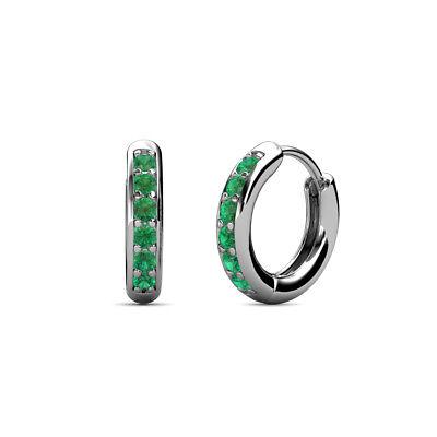 Petite Emerald Huggies Womens Hoop Earrings 0.19 ctw 14K Gold JP:36596 Emerald Huggies Earrings