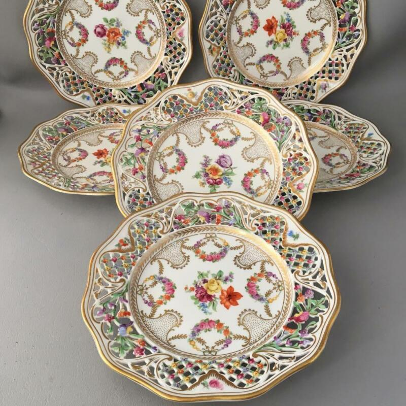 ANTIQUE VTG GERMANY SCHUMANN PORCELAIN FLOWERS RETICULATED DESSERT PLATES SET 6