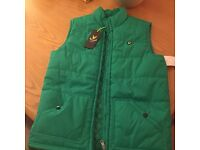 Designer clothes kids boys Lyle and Scott body warmer / gilet age 14 green