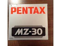 Pentax MZ 30 SLR camera body.