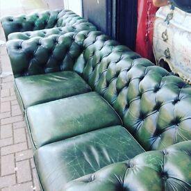Vintage Chesterfield sofa & club chair