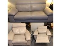 Dansk 3 Seater Settee & Electric Reclining Chair (Cream) **Great Condition**
