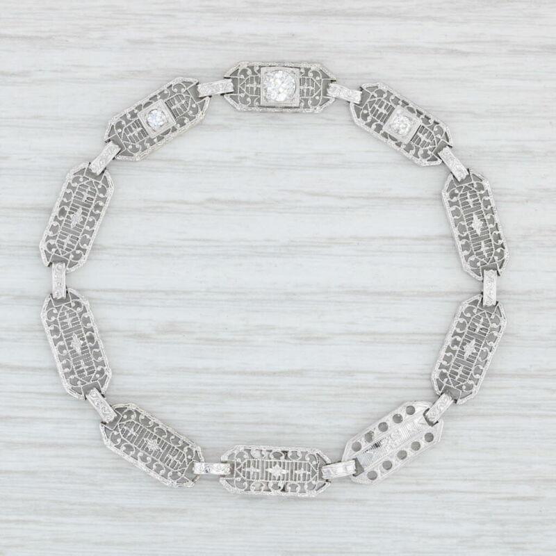 "Art Deco Diamond Bracelet Platinum Silver 14k Gold 7"" Antique Filigree 3 Stone"