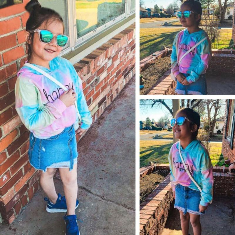 Teen Kids Girls Letter Multicolor Hoodies Sweatshirts Pullov