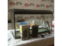 Aquarium with filter and heater