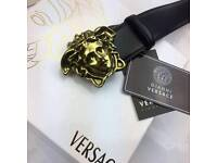 Matte gold very smooth leather beautiful smell of luxury goods mens leather belt versace rare boxed