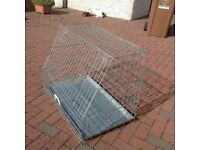 for sale dogs cage with sloping front in good condition hardly used silver for medium or large dog