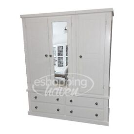 Handmade Sandra 3 Door + 4 Drawer Wardrobe With Mirror White (Assembled)