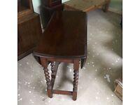 Antique Oak Barley Twist Drop Leaf Table - 1930's Gate Leg Dining Table