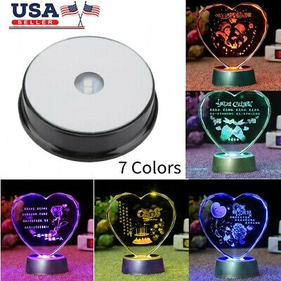 Seven Color LED Light Base Stand for Glass Bottle Crystal Art Figurine Decor New