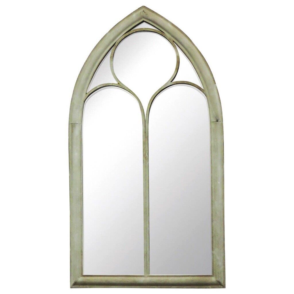 Pair Of Arched Window Style Mirrors Large