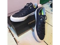 BNIB dark blue leather Converse size 4